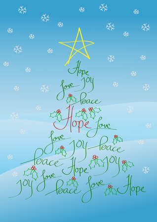Christmas card or background, tree with yellow star and holly bush leves Vector