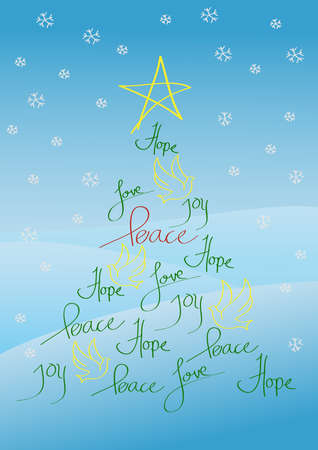 Christmas card or background, tree with yellow star and yellow birds Vector