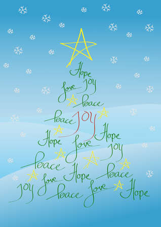 Christmas card or background, tree with yellow star and hand written greetings Vector