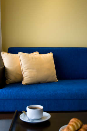 nice accommodations: Pent house living room with beautiful interior design and coffee Stock Photo