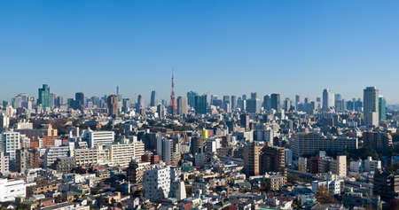Blue sky panoramic view over downtown Tokyo, Tokyo tower in the background
