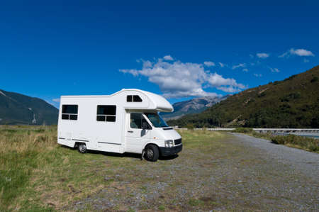 motorhome: Campervan on a rest area on a sunny day