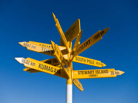 Signpost in Sterling point Bluff, South island of New Zealand photo