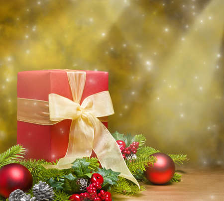 Present decorated with Christmas decoration, with space for advertising text photo