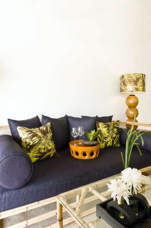 luxus: Contemporary sofa rattan bamboo seating area beautiful interior design