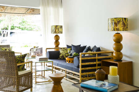 Contemporary bamboo sofa seating area beautiful interior design Zdjęcie Seryjne