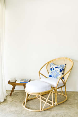 designer chair: Table chair combination rattan seating area beautiful interior design