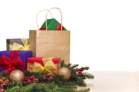 Christmas presents decorated with real fir branches photo
