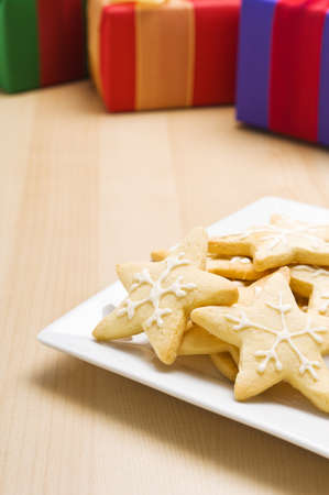Christmas cookies on a plate in festive decoration photo