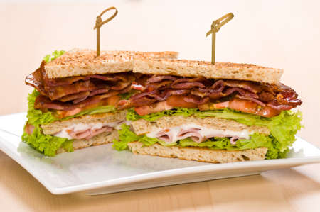 Two sandwich on a plate with room for text and on a wooden table