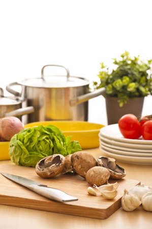 Kitchen still life, preparation for cooking, bright background photo