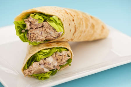 Two tuna melt wrap on a white plate on a blue background Stock Photo