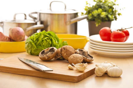 Kitchen still life, preparation for cooking, bright background
