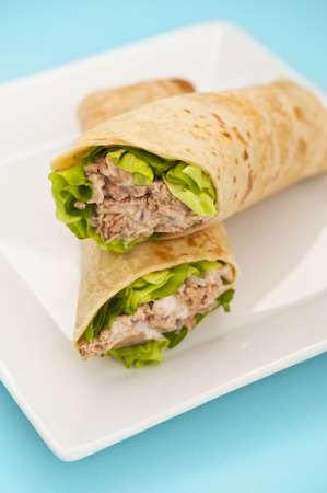 burrito: Two tuna melt wrap on a white plate on a blue background Stock Photo