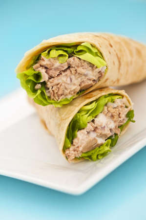 WRAP: Two tuna melt wrap on a white plate on a blue background Stock Photo