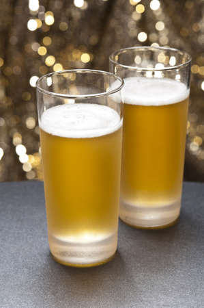 beerglass: Bier glasses in front of a colorful background with little decoration Stock Photo