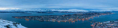 Panoramic view of Tromso in Norway during arctic winter photo