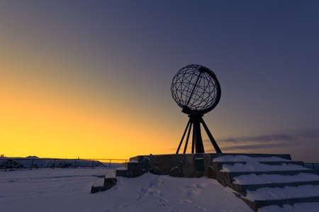 North Cape, Norway at the northern most point of Europe, in winter Stock Photo