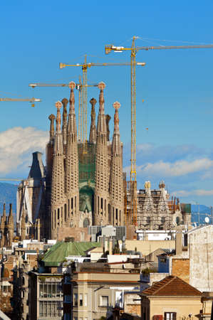 BARCELONA, SPAIN - December 15th 2011  La Sagrada Familia - the impressive cathedral designed by Gaudi, which is being build since 19 March 1882 and is not finished yet December 15th 2011 in Barcelona, Spain