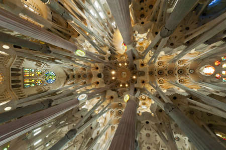 Interior of the famous symbol of Barcelona and architectural landmark - Gaudis Sagrada Familia (Holy Family) on Dec. 15th 2012