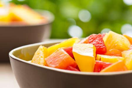 mango fruta: Dos plato de ensalada mixta de frutas tropicales frente a la naturaleza de fondo