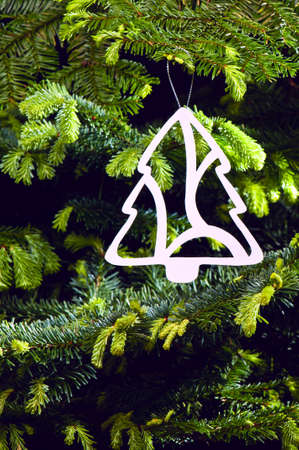 Tree shape Christmas ornament in fresh green Christmas tree Stock Photo - 14122422
