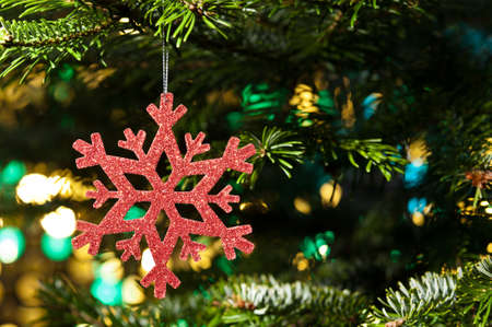Red artificial snow flake in a christmas tree infront of a glitter background Stock Photo - 14201927