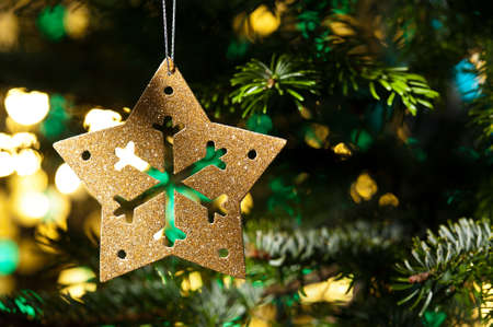 Decorative Gold Star ornament in a Christmas tree infront of a glitter background Stock Photo - 14201924