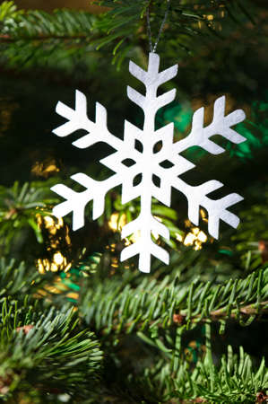 Snow flake shape Christmas ornament in fresh green Christmas tree photo