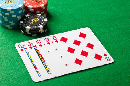 straight flush: Straight flush in a poker game with chips