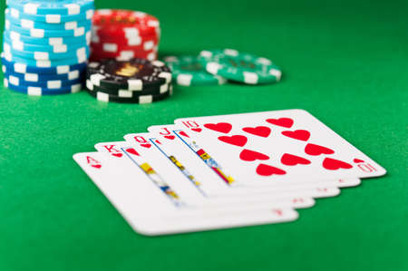 straight flush: Royal flush, royal straight flush, with chips