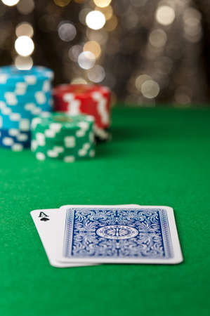 casino table: One ace and one face down card on a casino table