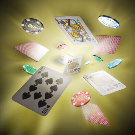 Tarjetas de póquer y fichas de casino volar en un centro brillante en segundo plano
