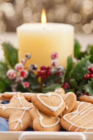 Christmas cookies, short bread in festive setting different shapes Stock Photo