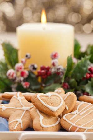Christmas cookies, short bread in festive setting different shapes Reklamní fotografie