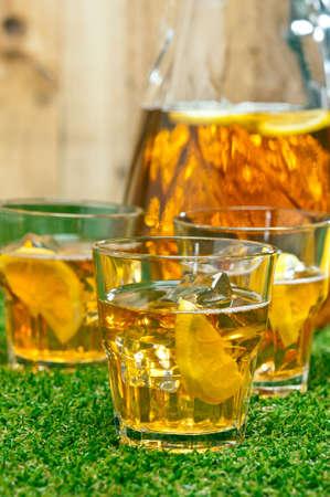 iced tea: Iced Lemon Ice Tea in a summer setting