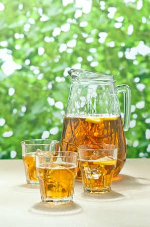 Iced Lemon Ice Tea in a summer setting