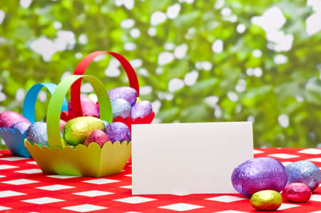 Easter eggs in basket in a spring setting with place card