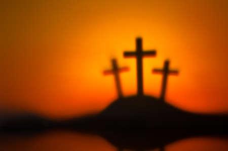 golgotha: Three crosses symbolic for Jesus crucifixion in Golgotha