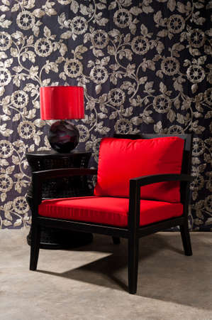 red chair: Black red Chair furniture with elegant wall decoration