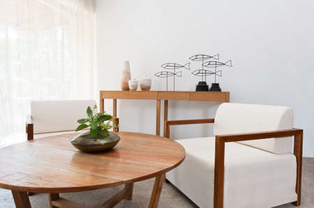 Bright brown white furniture in a living room photo