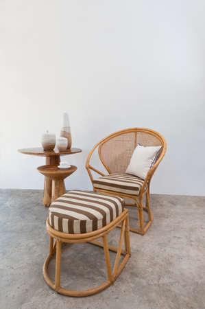 luxus: Beautiful bamboo rattan furniture in a summer setting Stock Photo