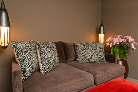 luxus: Brown two seated sofa beautiful dark ambience Stock Photo