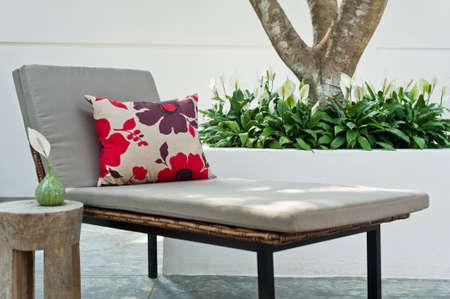 garden furniture: Villa garden with Sunlounger in the beautiful afternoon sun