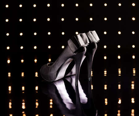 Beautiful black stilettos on the dance floor Stock Photo - 18635008