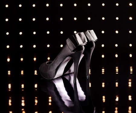 Beautiful black stilettos on the dance floor Stock Photo - 18635008