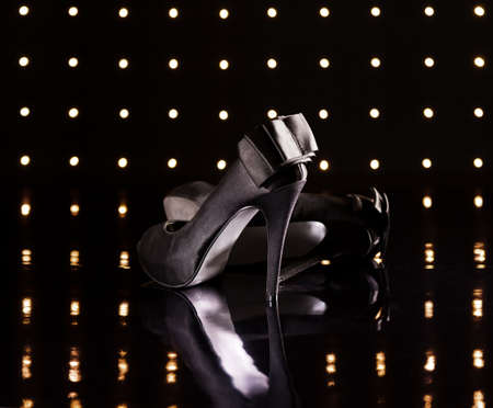 Beautiful black stilettos on the dance floor Stock Photo - 18635009