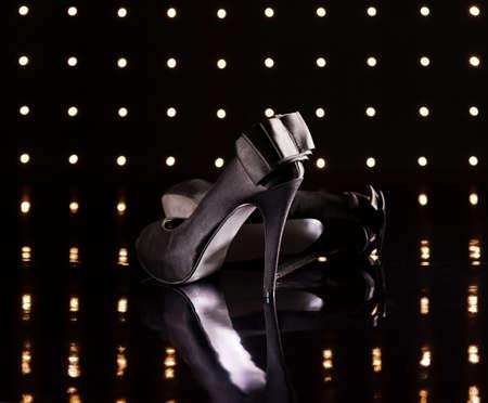 Beautiful black stilettos on the dance floor Stock Photo - 18635009