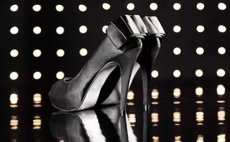 Beautiful black stilettos on the dance floor Stock Photo - 18635011