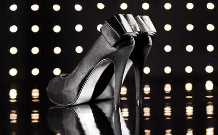 Beautiful black stilettos on the dance floor Stock Photo - 18635011